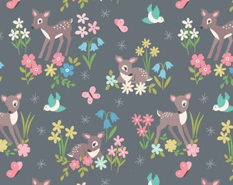 So Darling A286-3 Little Deer on Grey Lewis & Irene Patchwork Quilting Fabric