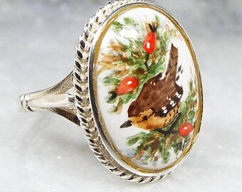 Vintage 1989 Sterling Silver Hand Painted Miniature Wren Bird Ring / Size Q 1/2