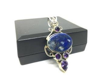 Lapis Lazuli And Amethyst Pendant 925 Silver