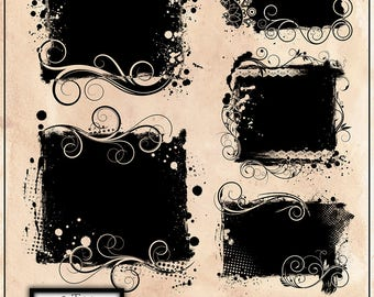 25% OFF 5 Beautiful Grunge Photo Clipping Masks, png, Clipping Mask Set, INSTANT DOWNLOAD.
