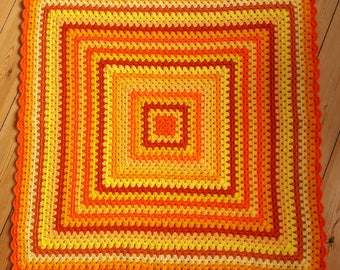 Yellow Crochet Baby Blanket Orange Crochet Baby Afghan Blanket READY TO SHIP