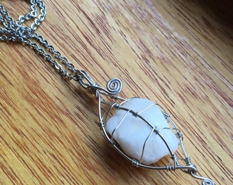 Alaskan Stone Wire Wrapped Leaf Pendant Necklace