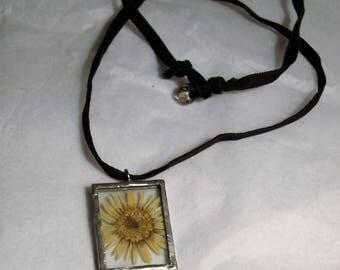 Vintage pressed flower necklace