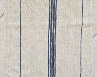 NS1810 Navy Blue Stripe Twill Natural Sandstone Vintage Linen Grainsack