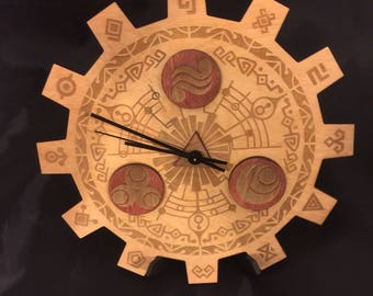 Legend of Zelda of Gate of Time Stained Wood Laser Cut Clock