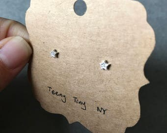Silver Tiny Mini CZ Star Stud Earrings - Sterling Silver