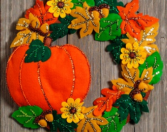 Fall Wreath ~ Bucilla Felt Home Decor Kit #86831, Pumpkin, Acorns, Oak Leaves