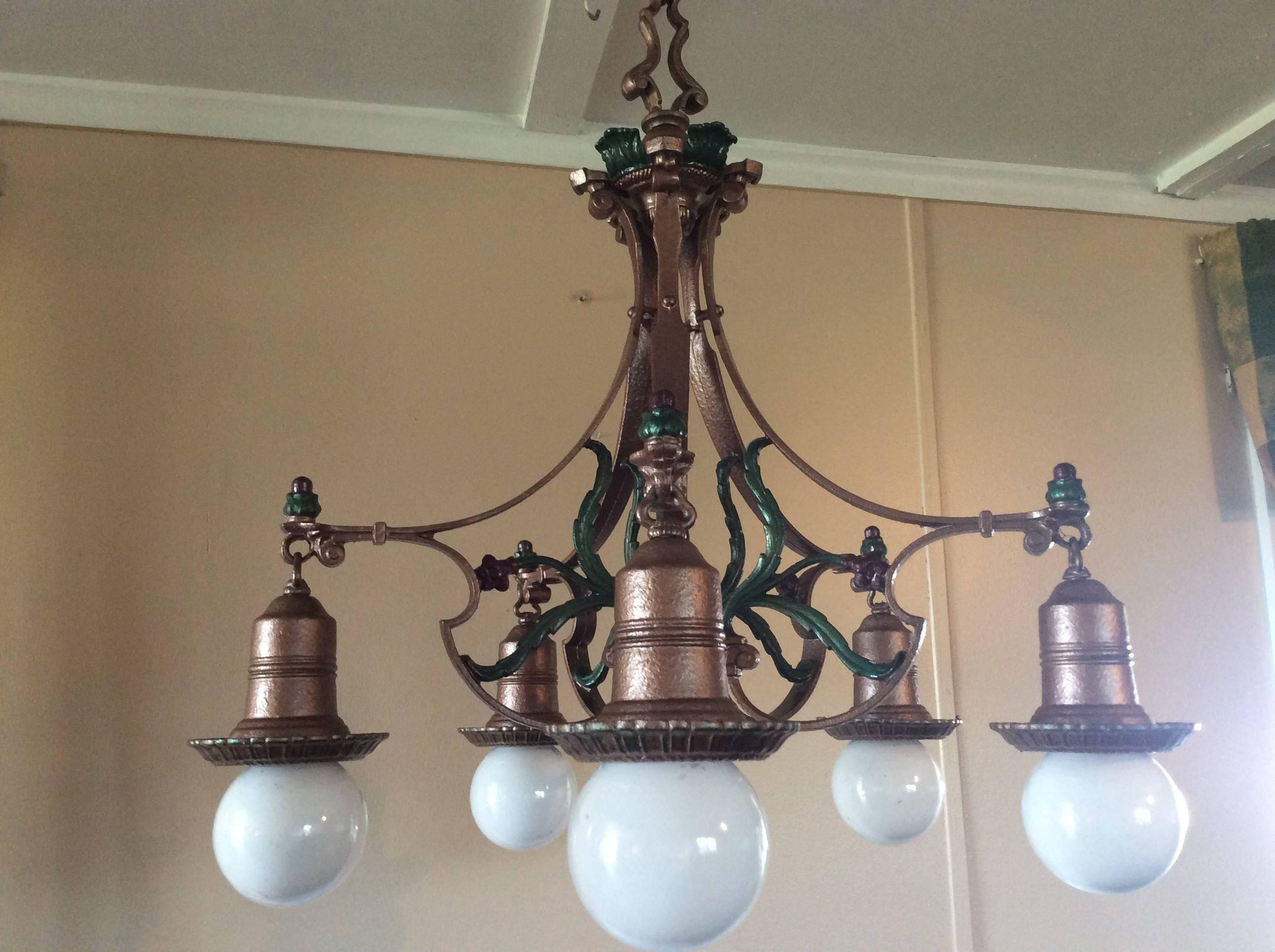 Antique art deco 5 bulb hanging light chandelier 1920s polychrome antique art deco 5 bulb hanging light chandelier 1920s polychrome uses bulbs or shades arubaitofo Gallery