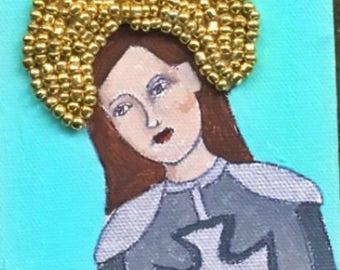 Saint Joan of Arc Patron Saint of Soldiers Small Original Painting