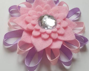Flower Hair Bow, A Beautiful Mix of Grosgrain ribbon and Felt, Stunning