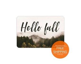 Hello fall welcome mat, outside decor, door mat, autumn floor mat, rustic style