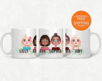 Best friends mug, personalized friendship gift, besties portrait, kitchen drinkware by nkdna