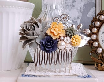 Grey, deep purple and marigold flower comb Country garden assemblage hair accessory Bridal silver hair comb