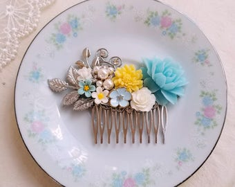 Shabby chic baby blue and yellow flowers Pearl ornate flower assemblage hair accessory Baby blue flower silver bridal comb