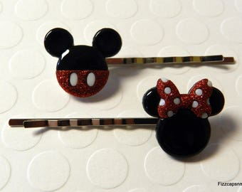 Mickey & Minnie Hairpins Set of 2 Handcrafted Makes A Perfect Gift