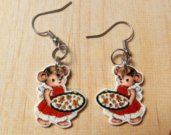 Vintage Inspired Bear With Cookies Dangle Earrings w/ Nickel Free Hooks Cookies Christmas Holiday Jewelry