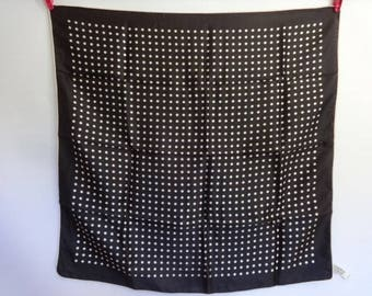 "Vintage Scarf black white Spotty Dotty 66cm x 66cm / 25.9"" x 26.9"""