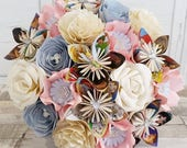 Paper Flower wedding bridal bouquet alternative pretty vintage cute pale baby pink blush blue Disney Princess book bouquet