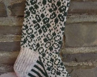 Fading Flowers Stocking: abstract hand knit fair isle Christmas stocking