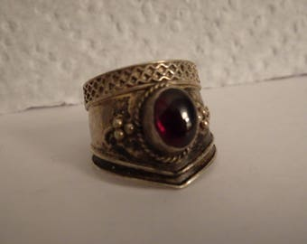Sterling Silver and Garnet Wide Band Ring - size 5