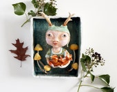 Sculpture Wood Nymph and the Fox   Wall Hanging sculpture   Mushrooms   Woodland   Fantasy   Fairytale   Mixed Media