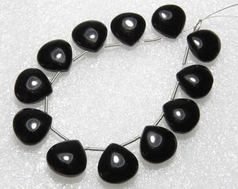 Black Onyx - 6 Matching Pairs - Smooth - Heart Shape - size 12x12 mm