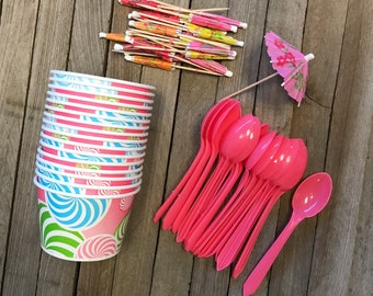 Pink Dessert Cups, Ice Cream Treat Cups, Birthday Party Supply, Party for 16