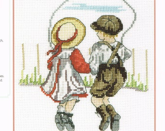 CROSS STITCH PATTERN - Children Skipping Jump Rope - Victorian Children Playing - Victorian Cross Stitch