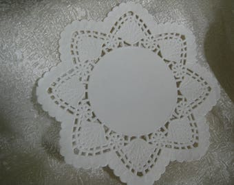 """10 Pcs 5"""" inch LOTUS FLOWER Scallop Edge Lace Paper Doily Cards off White Imported JAPAN"""