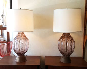 Pair of Mid Century Glass and Brass Table Lamps in Dusty Rose Color