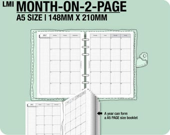 MO2P July 2017 to December 2018 / A5 month-on-2-page MON - Filofax Inserts Refills Printable Binder Planner.