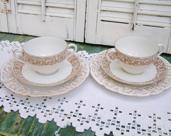 Antique Vintage Nathan Dohrmann Co San Francisco French Limoges Porcelain Double Handled Soup Broth Bowls with Saucer and Serving Plates