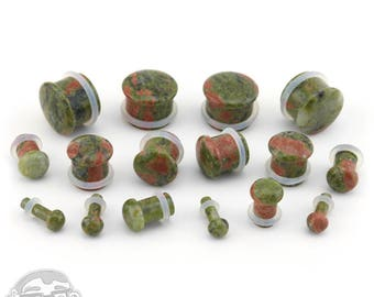 "Unakite Stone Plugs - Single Flare (8G - 9/16"") Sold In Pairs - New!"