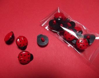 diameter 13 mm x 10 Ladybug buttons