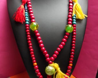 (No. 15) necklace beads ethnic mid-long