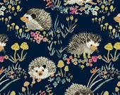 Hedgehog Fabric - Happy Hedgehogs Enchanted Forest by Betsy Olmsted for Windham  - 43499 2 Navy - Priced by the half yard