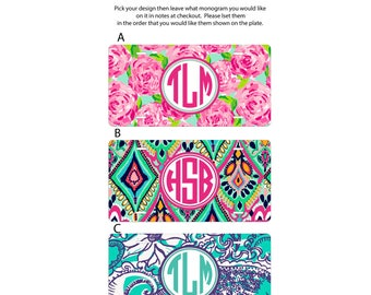 Monogram car tag, monogram license plate, monogrammed car tag, personalized license plate, girly car tag,  personalized gift, gift for her