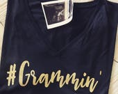 black and glitter gold #Grammin raw edge 3/4 sleeve swoop neck,  crew neck and v-neck available. Perfect for grandma