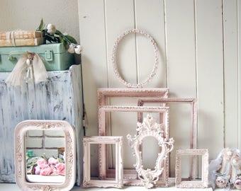 Blush Pink Ornate Vintage Frames, Baby Pink Open Nursery Frames, Vintage Ornate Mirror, Wall Gallery, Shabby Chic Pink Frame Set, Gift Ideas
