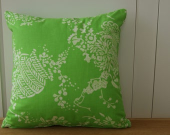 Green and white cushion in Designer's Guild fabric 40 x 40cm