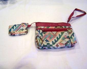 vintage brocade wristlet purse & coin purse, c. 1980s