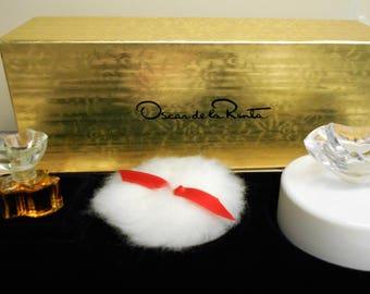 vintage Oscar de La Renta gift set with 1/8 fl oz parfum, powder puff, and 1 oz. poudre parfumee or perfumed powder