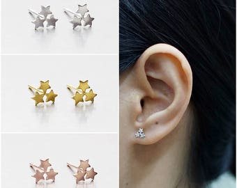 925 Sterling Silver Earrings, Triple Star Earrings, Gold Plated Earrings, Rose Gold Plated Earrings, Stud Earrings (Code : K38A)
