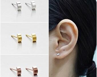 925 Sterling Silver Earrings, Semicircle Earrings, Gold Plated Earrings, Rose Gold Plated, Stud Earrings (Code : E45A)