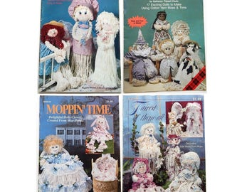 Set of 4 Mop Doll Pattern Booklets - 41 Different Dolls 1990