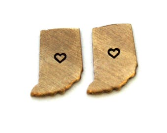 2x Brass Indiana State Charms w/ Hearts NO BAILS - M073/H-IN