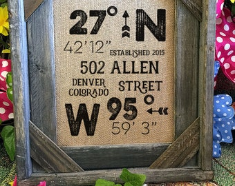 Framed Burlap House Warming Gift | Address | Latitude Longitude | Barn Wood Frame | 11x14 | 8x10  | Burlap Print | GPS