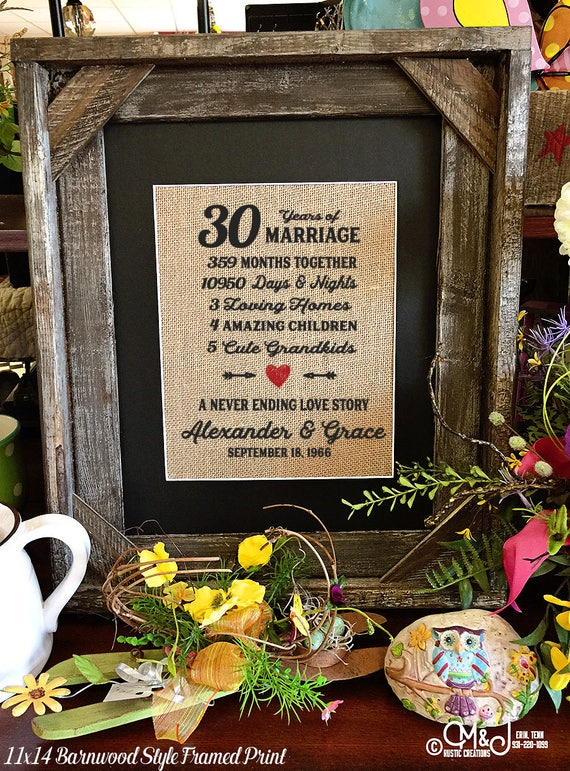 Framed 30th Wedding Anniversary Gift | Love | Valentines Day | Personalized | Burlap | Parent's Anniversary Gift | Grandparent Gift | 258
