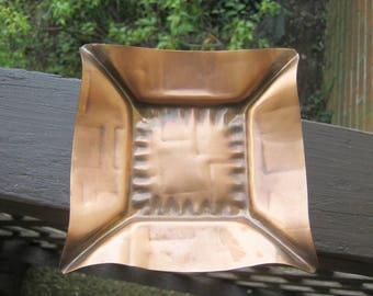 Square Copper Dish Or Ashtray, 5 1/4 Inches Square, Trinket Dish, Pressed Copper, Collectible Copper Metal, Versatile Dish,