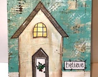 Rustic Church Painting, Christmas Church Sign, Painted Church, believe, Cross, Christmas Decor, Religious Gift Idea